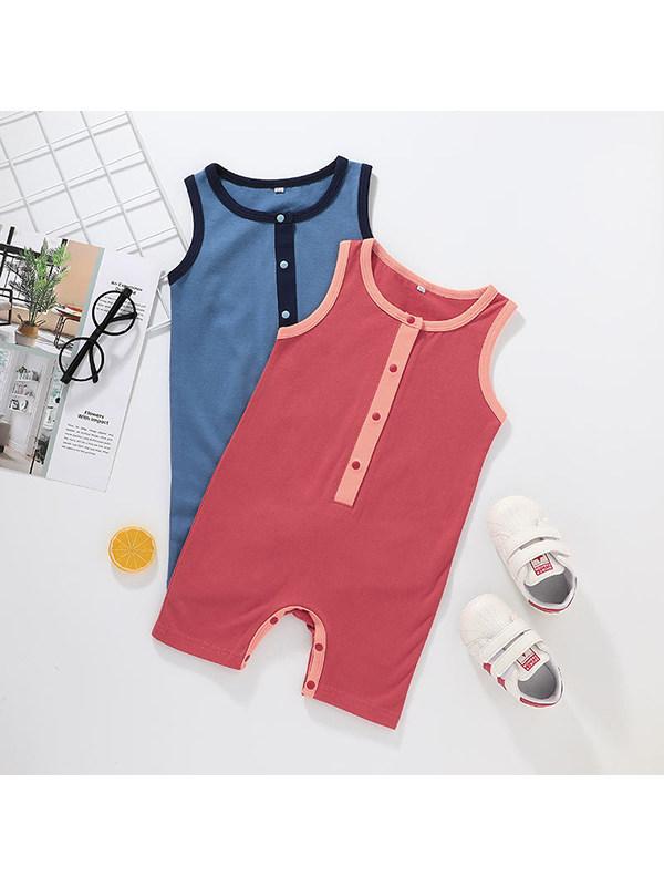 【3M-3Y】Baby Boy Round Neck Sleeveless Solid Color Vest Bodysuit