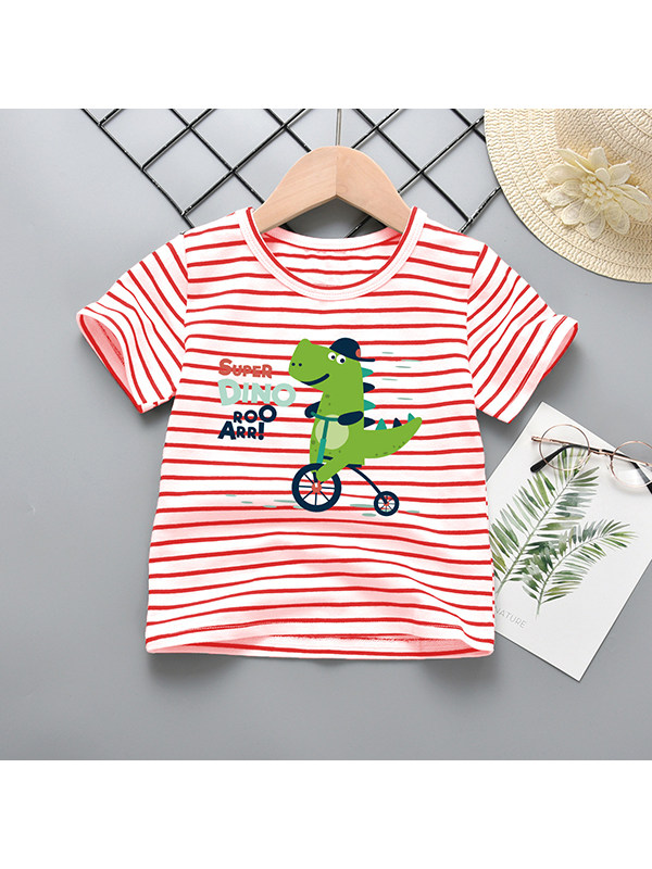 【18M-9Y】Boys Crew Neck Short Sleeve Dinosaur Print T-shirt
