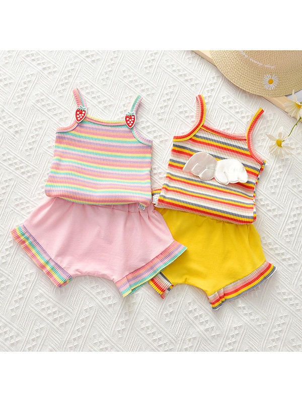 【12M-5Y】Girls Striped Camisole Shorts Suit