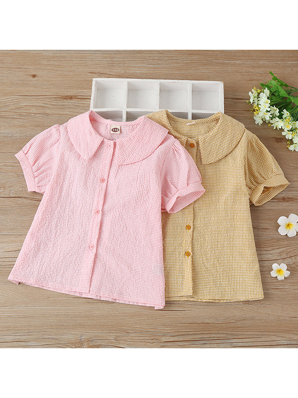 【4Y-13Y】Girls Lapel Puff Sleeve Single-breasted Shirt