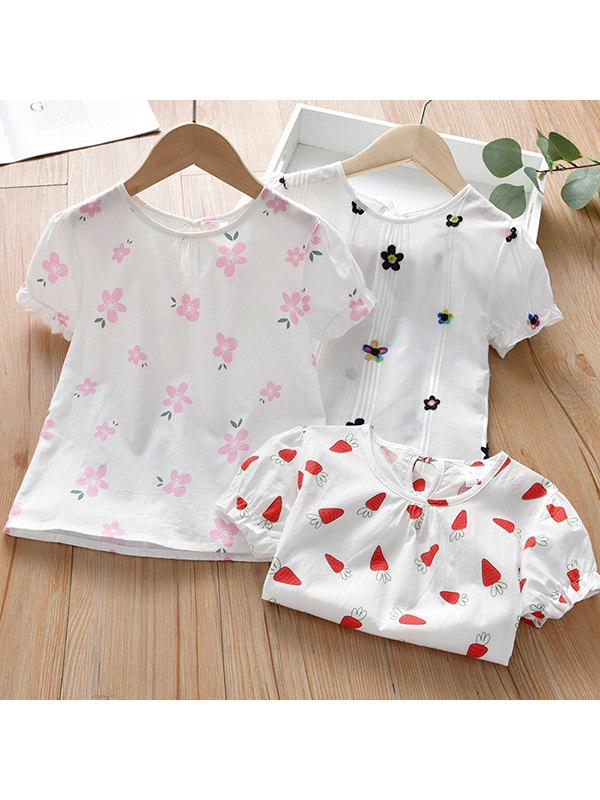 【6M-7Y】Girls Floral Print Round Neck Shirt
