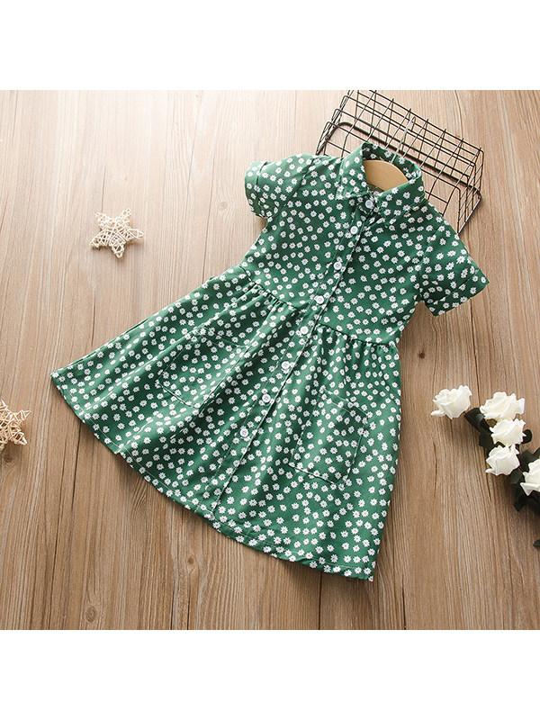 【18M-7Y】Girls Lapel Floral Daisy Print Short-sleeved Dress