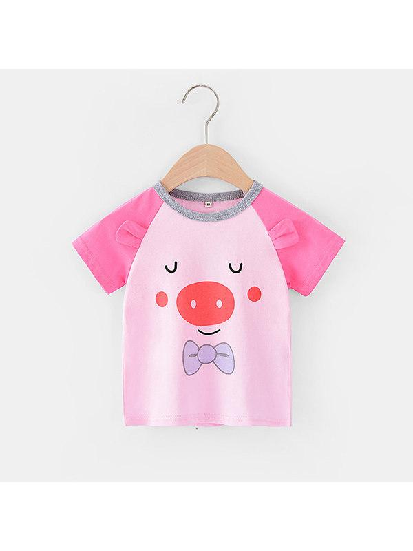 【12M-7Y】Girls Cute Cartoon Piggy Print Short-sleeved T-shirt