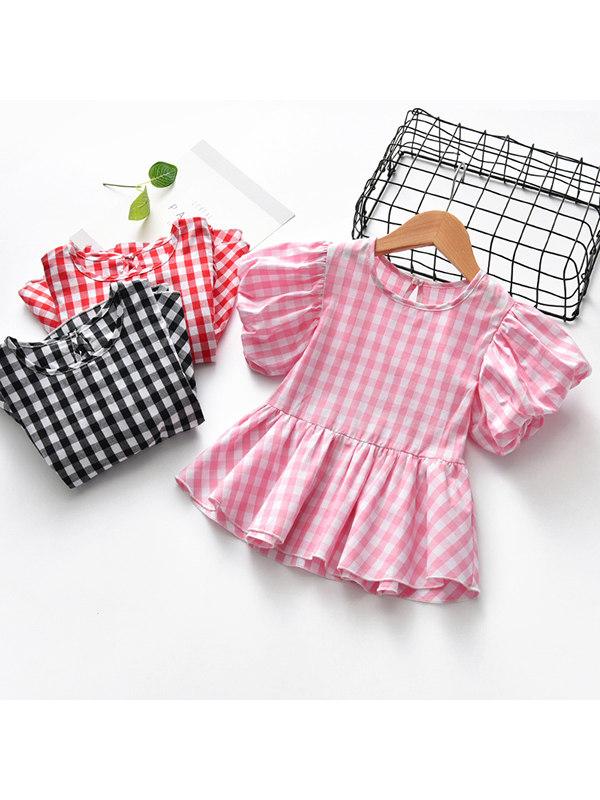 【12M-7Y】Girls' Plaid Short-sleeved Baby Shirt