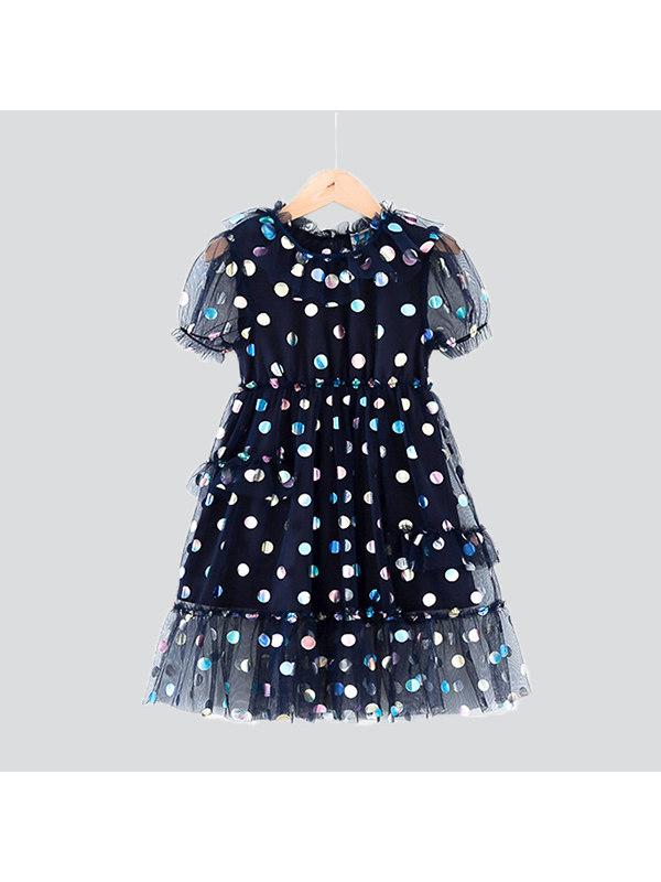【3Y-13Y】Big Girl Puff Sleeve Mesh Princess Dress