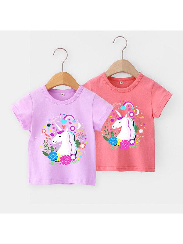 【12M-7Y】Girls Cute Cartoon Unicorn Print T-shirt - 3104