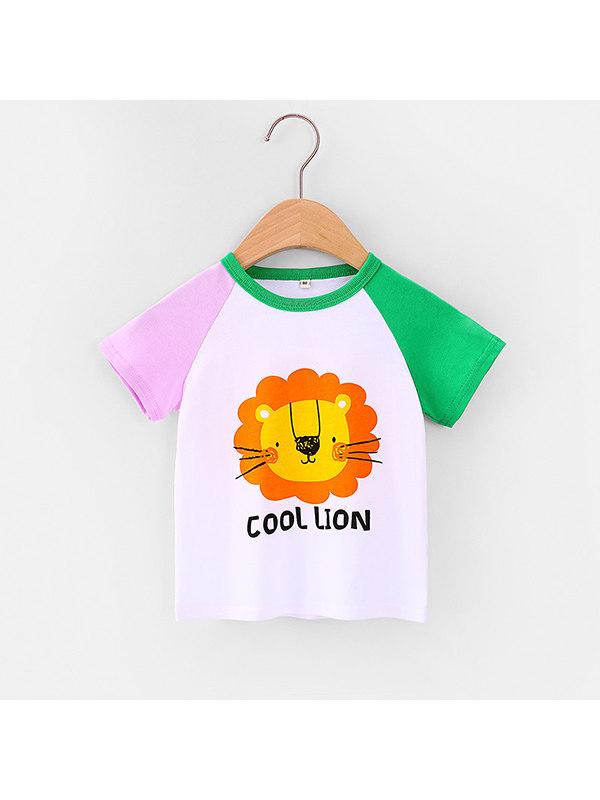 【12M-7Y】Girls Round Neck Cartoon Printed T-shirt
