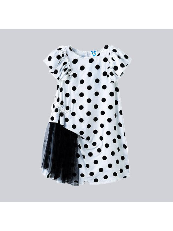 【3Y-13Y】Girls Net Yarn Stitching Polka Dot Flying Sleeve Chiffon Skirt