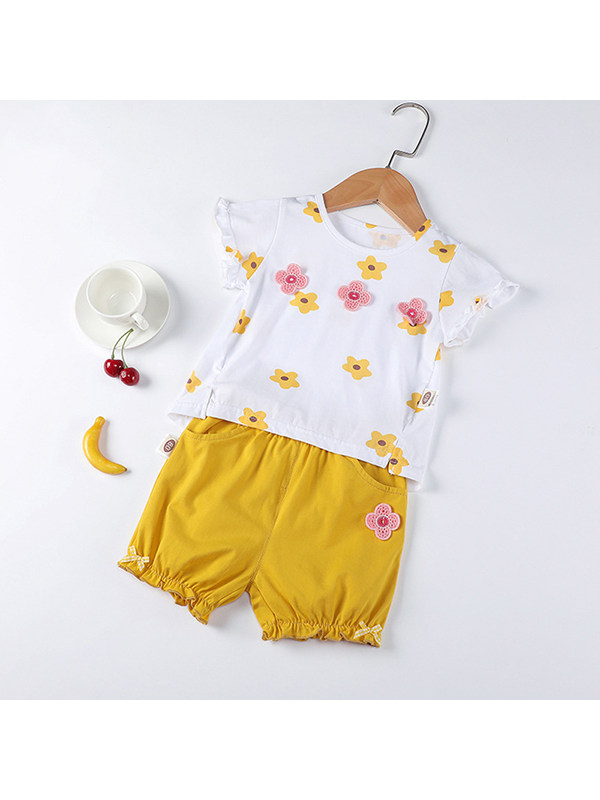 【12M-7Y】Girls' Round Neck Short-sleeved Floral Print Blouse With Solid Color Shorts Suit