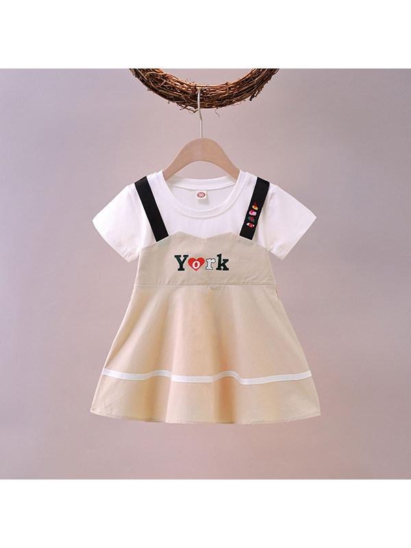 【18M-7Y】Girls Round Neck Short-sleeved Fake Two-piece Strap Stitching Dress