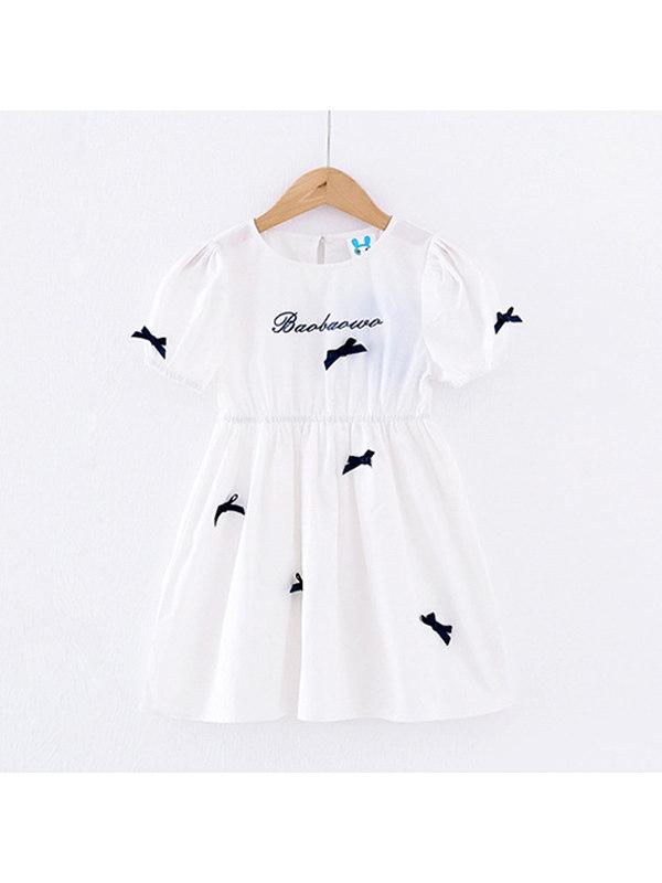 【3Y-13Y】Big Girl's White Short-sleeved Bow Dress