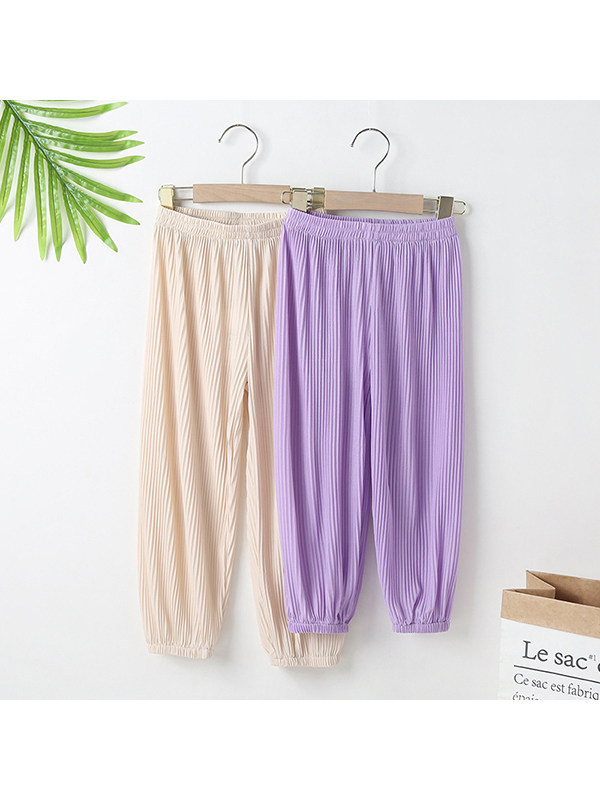 【3M-13Y】Girls Pleated Casual Anti-mosquito Trousers