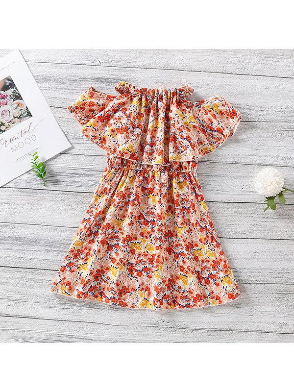 【18M-7Y】Girls Strapless Floral Print Dress