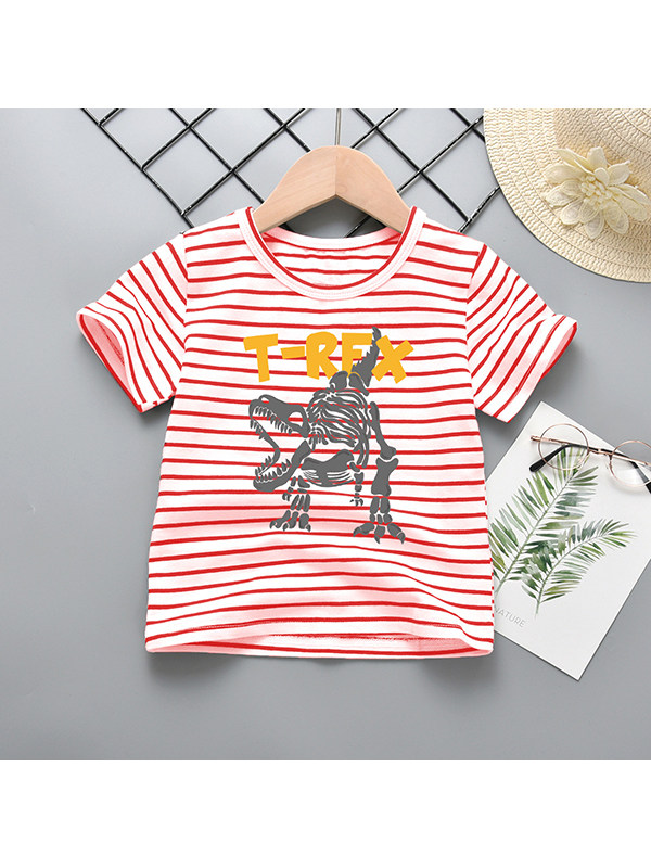 【18M-9Y】Boys Crew Neck Cartoon Dinosaur Short Sleeve T-Shirt