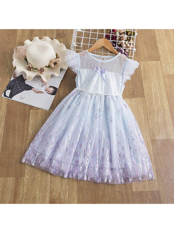 【3Y-11Y】Girls Short-sleeved Sequined Dress
