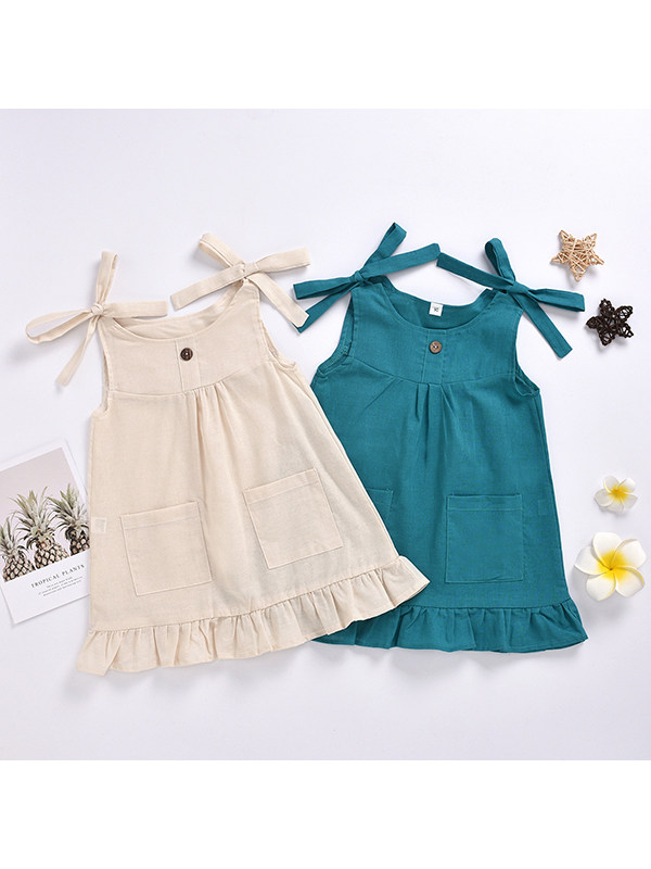 【18M-5Y】Girls Sleeveless Solid Color Bow Sling Dress