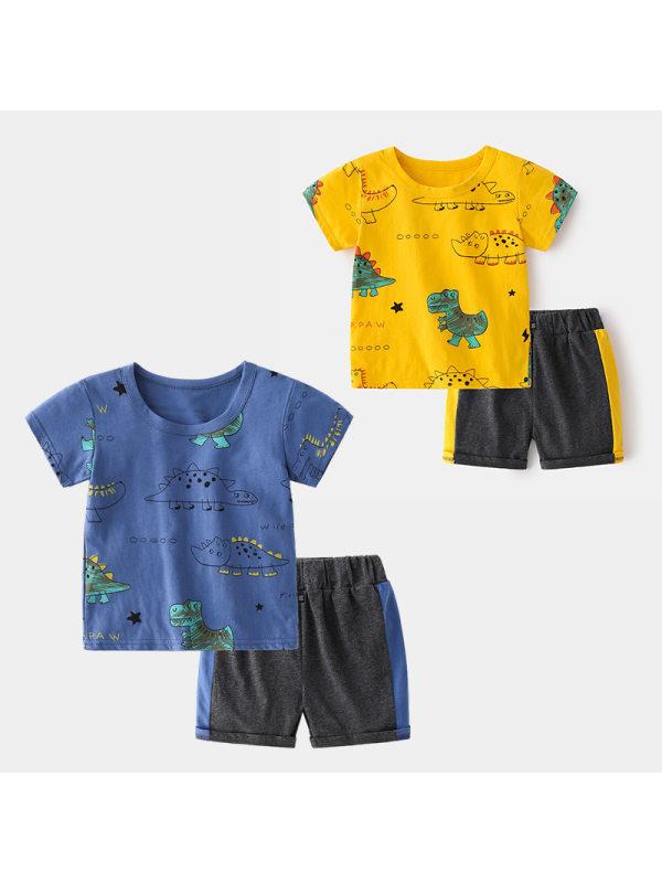 【18M-7Y】Boys Cartoon Print Short Sleeve Two-piece Suit