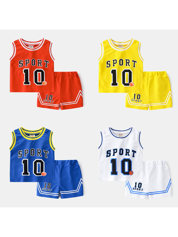 【18M-7Y】Boys Sleeveless Tank Top And Shorts Sports Two-piece Suit