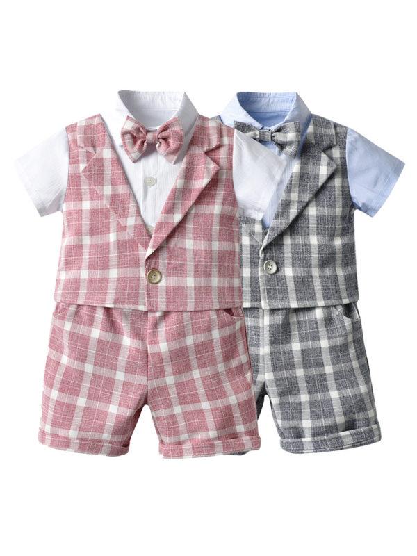 【12M-5Y】Boy's Short-sleeved Plaid Fake Vest Two-piece Suit