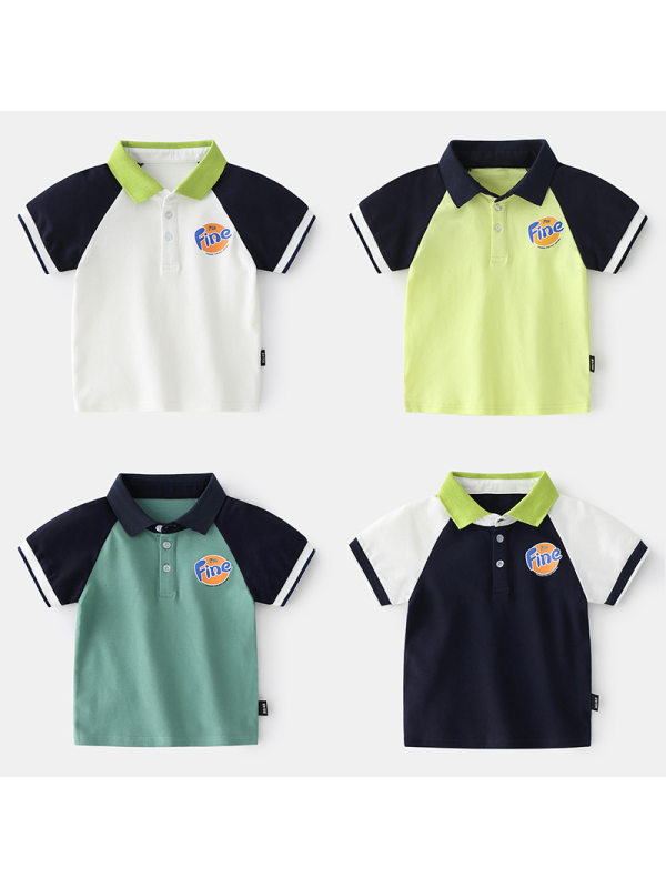 【18M-7Y】Boys' Contrast Color Stitching Short-sleeved Polo Shirt With Printed Letters