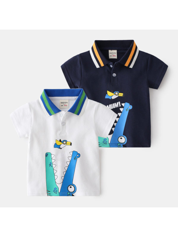 【18M-7Y】Boys Cartoon Print Short-sleeved Polo Shirt