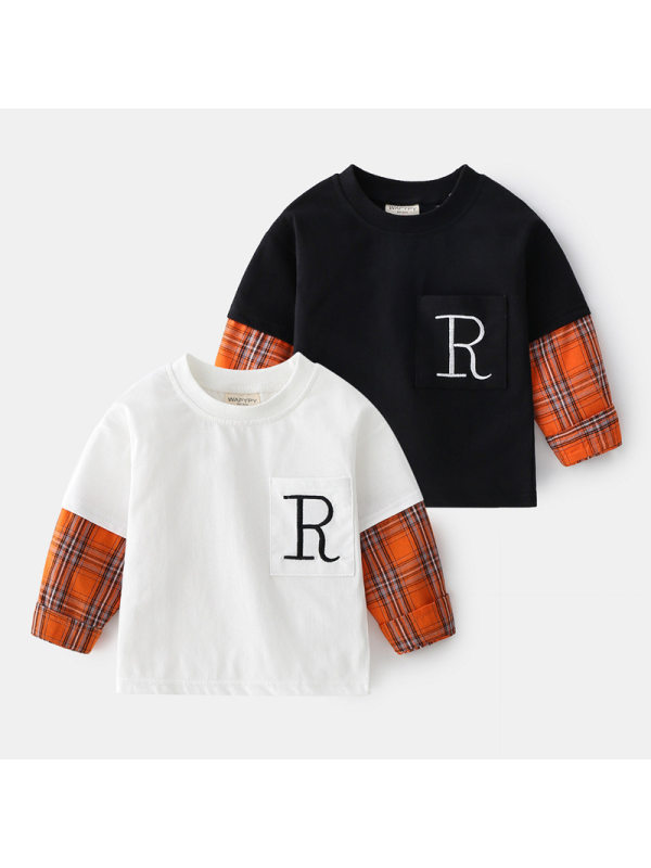 【18M-9Y】Boys Hit Color Stitching Long Sleeve T-shirt