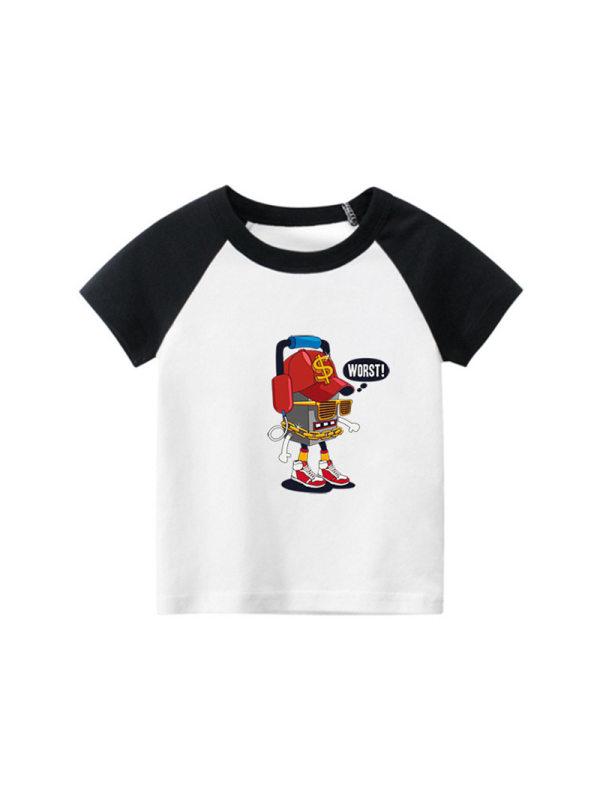 【18M-9Y】Boys Cartoon Print Hit Color Stitching Short Sleeve T-shirt