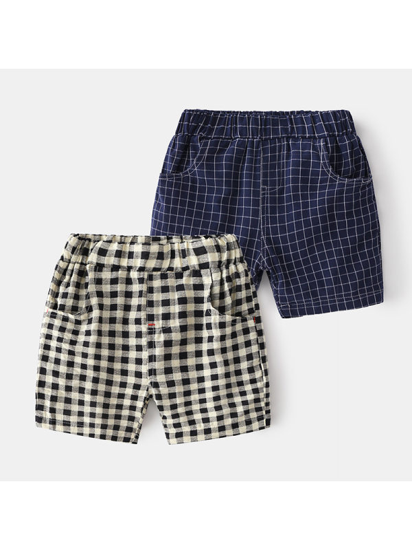 【18M-7Y】Boys' Checkered Trendy Five-point Pants