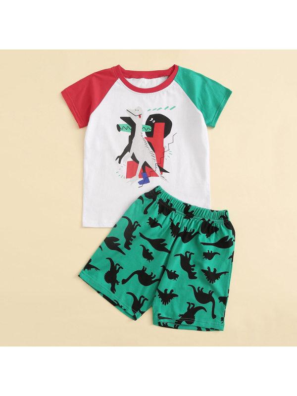 【12M-5Y】Boy's Dinosaur Print Short Sleeve Two-piece Suit
