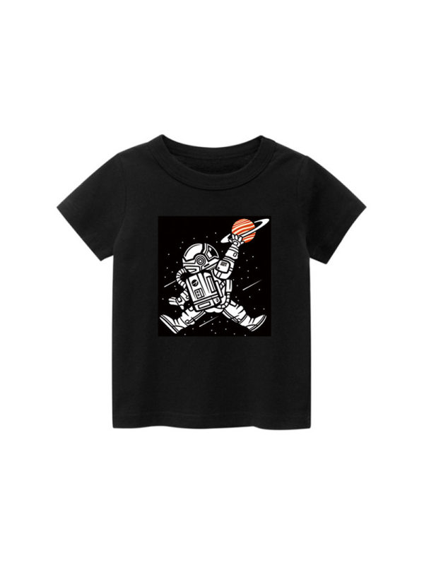 【18M-9Y】Boys Astronaut Print Short-sleeved T-shirt