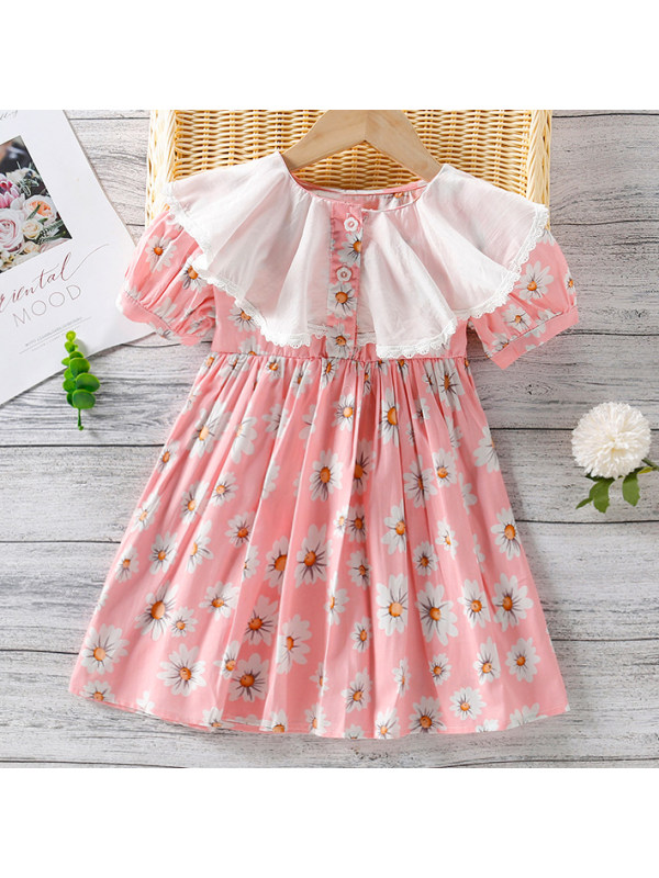 【2Y-7Y】Sweet Flower Print Short Sleeve Dress