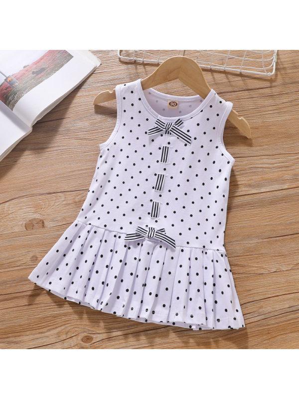 【18M-7Y】Girl Sweet Polka Dot Bow Sleeveless Dress