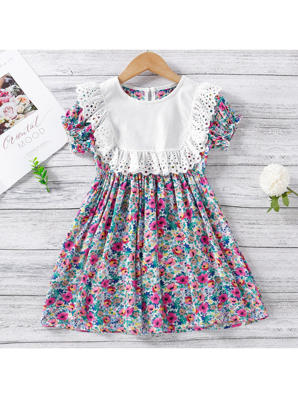 【18M-7Y】Sweet Flower Print Round Neck Puff Sleeve Dress