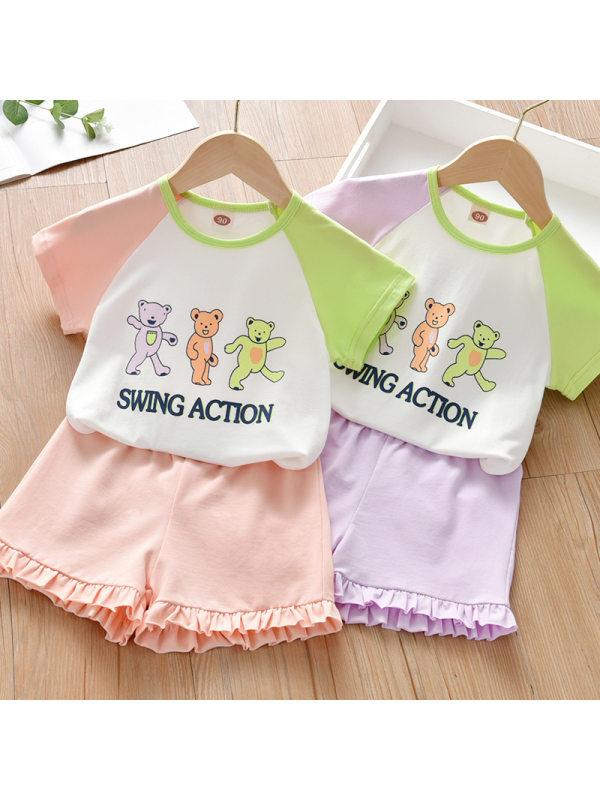【18M-7Y】Girl Sweet Cartoon Pattern Short Sleeve T-shirt Shorts Set