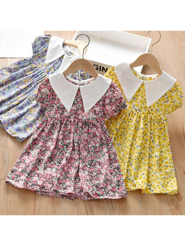 【18M-7Y】Girls Sweet Floral Lapel Short Sleeve Dress