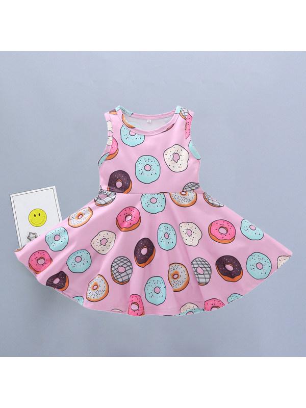 【12M-5Y】Girls Cute Donuts Full Print Sleeveless Vest Dress