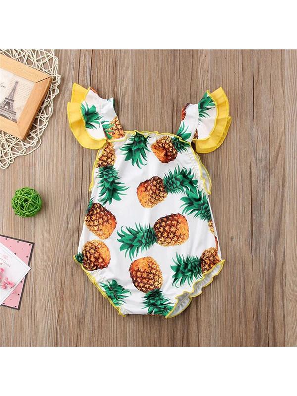 【6M-3Y】Girls Flying Sleeves Pineapple Print Ruffled Jumpsuit