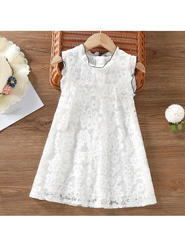 【18M-7Y】Sweet White Lace Round Neck Sleeveless Dress