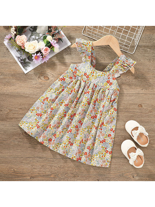 【12M-5Y】Girls Small Floral Flying Sleeve Suspender Dress