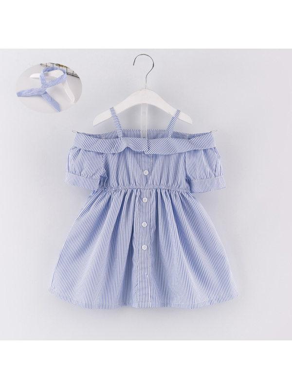【18M-7Y】Girls Striped Off-shoulder Short-sleeved Dress