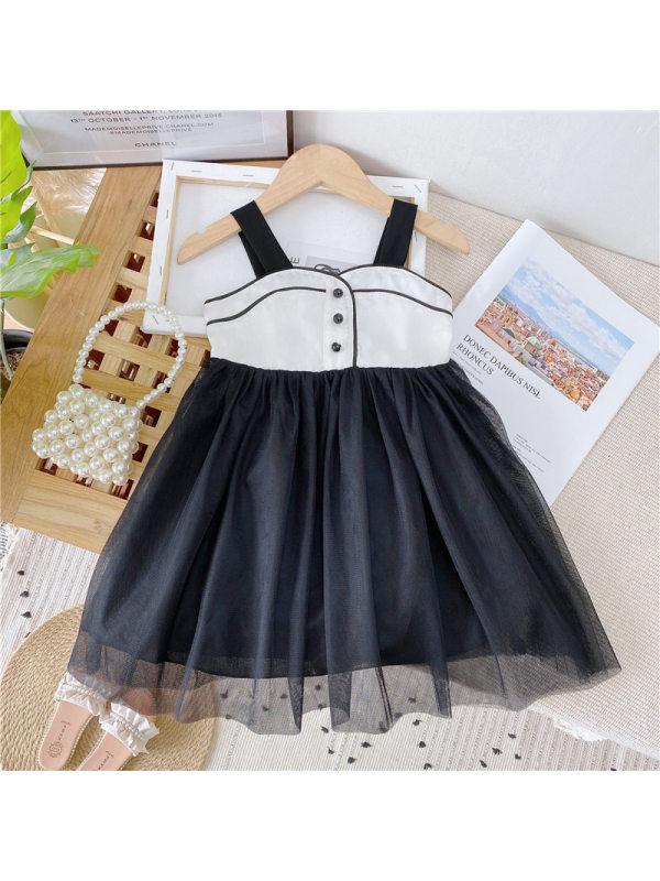 【18M-9Y】Girls Fashion Sweet Mesh Stitching Camisole Dress