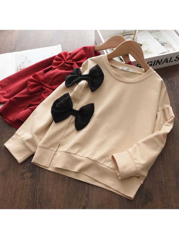 【18M-7Y】Girls Fashion Casual Bow Crew Neck Long Sleeve Sweatshirt