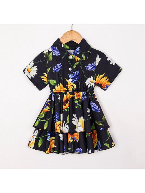 【18M-7Y】Girls Lapel Short Sleeve Shirt Cake Dress