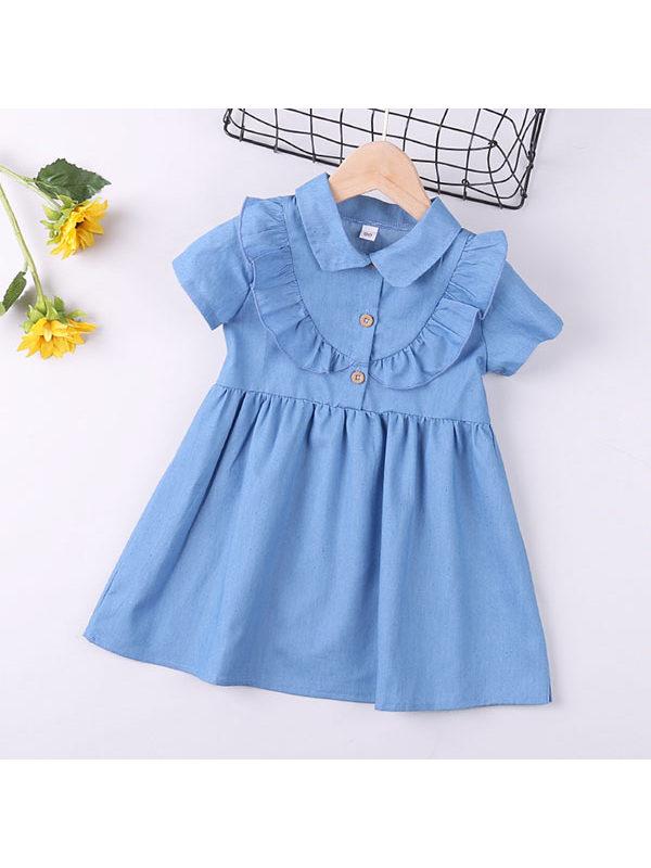 【18M-7Y】Girls Solid Color Short Sleeve Dress