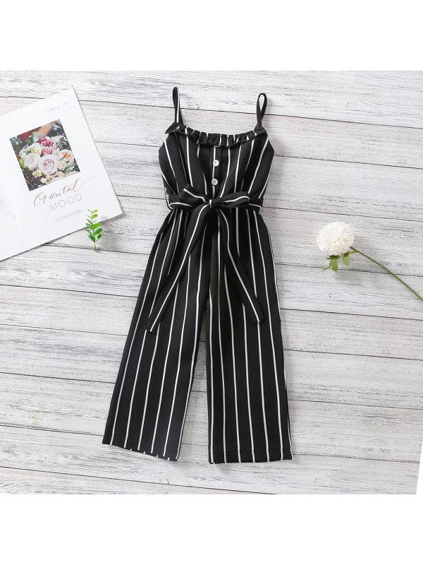 【18M-7Y】Girls Suspenders Striped Waist Jumpsuit