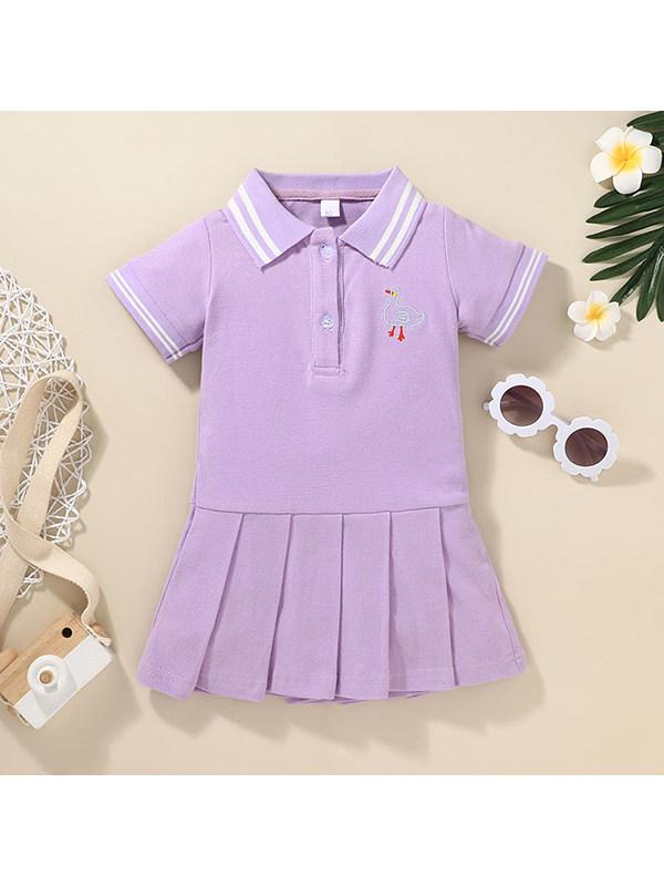 【12M-7Y】Girls Short Sleeve Cartoon Print Dress