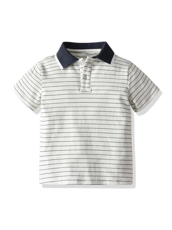 【12M-5Y】Boys Striped Short-sleeved Polo Shirt