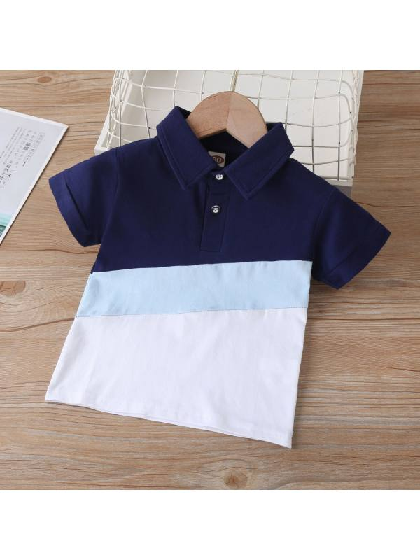 【18M-7Y】Boys Color Stitching Trendy Short-sleeved POLO Shirt