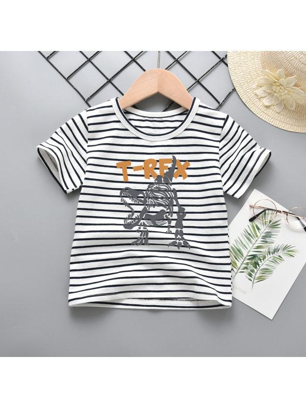 【18M-9Y】Boys Striped Dinosaur Print Short Sleeve T-shirt