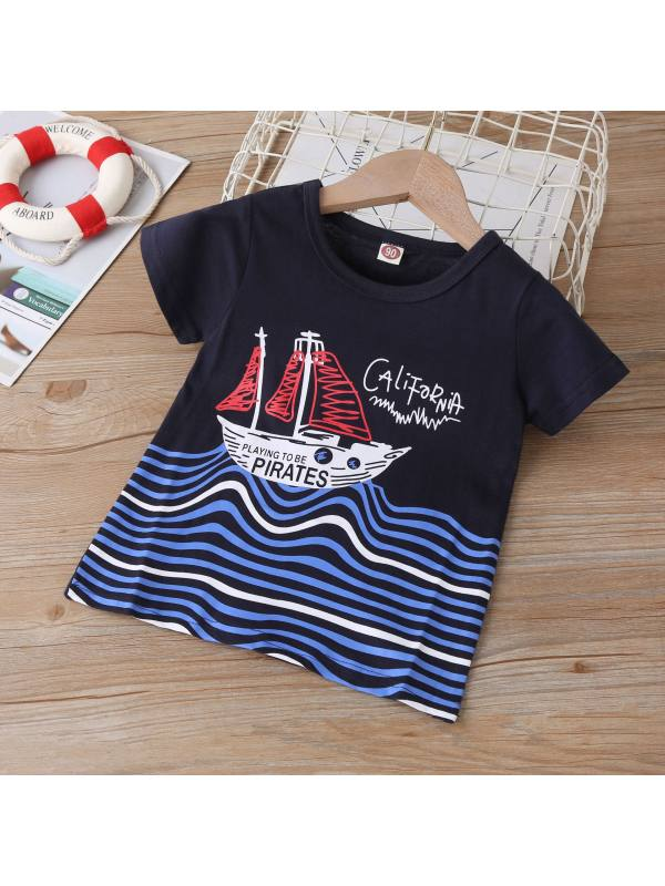 【18M-7Y】Boys Striped Cartoon Print Short Sleeve T-shirt